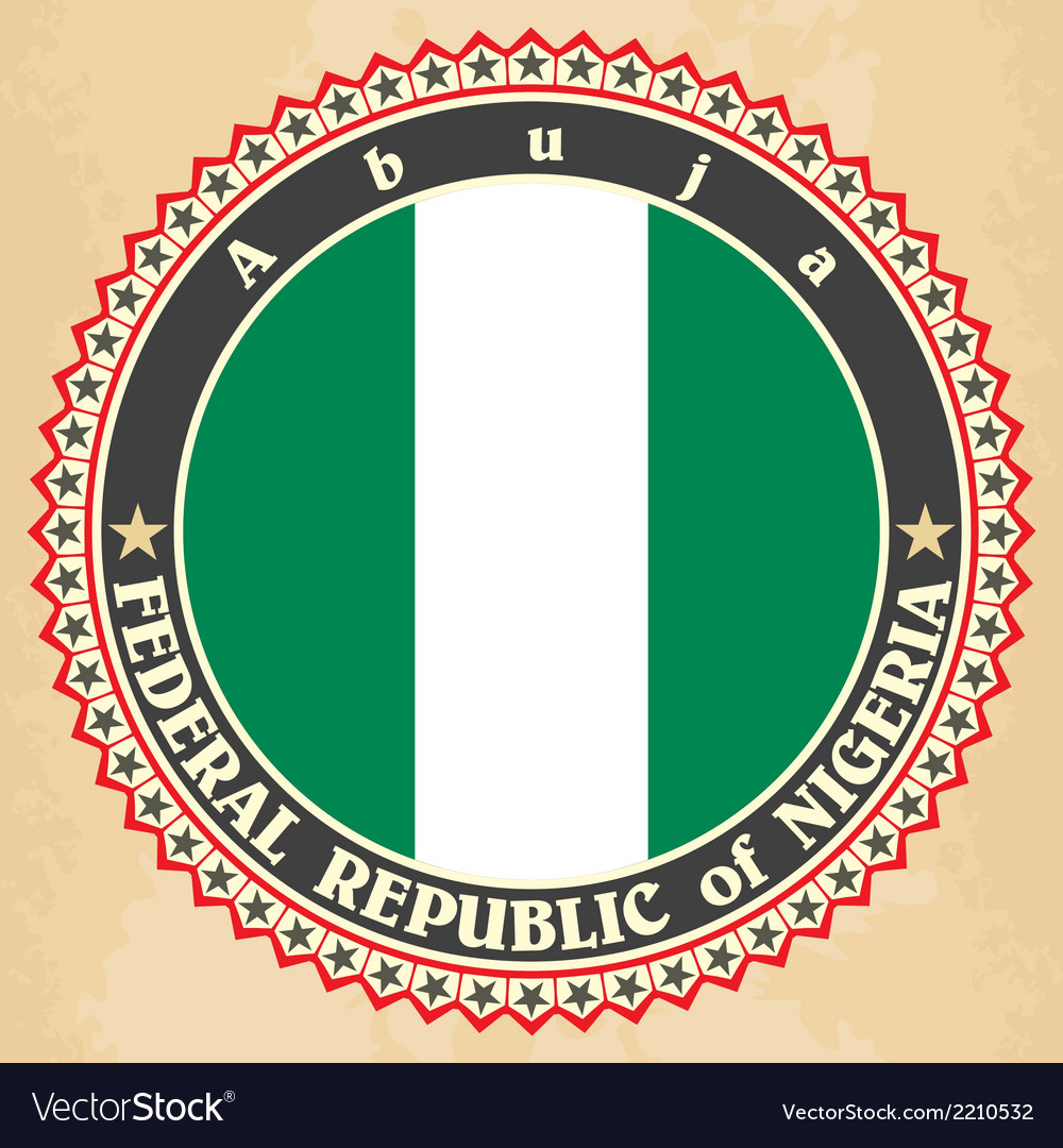 Vintage label cards of nigeria flag vector | Price: 1 Credit (USD $1)