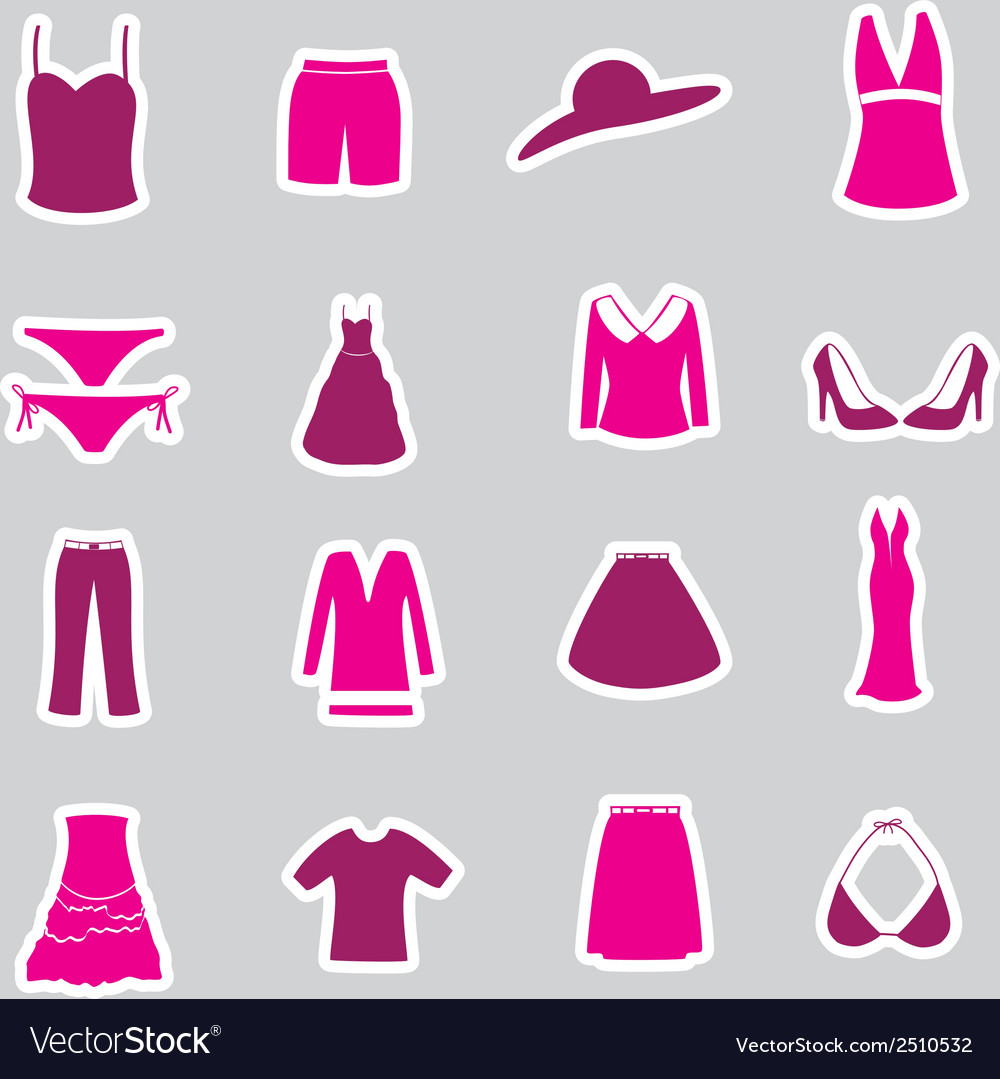 Womens clothing stickers set eps10 vector | Price: 1 Credit (USD $1)