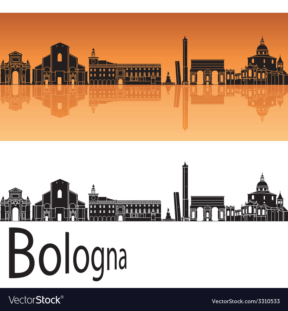 Bologna skyline in orange background vector | Price: 1 Credit (USD $1)