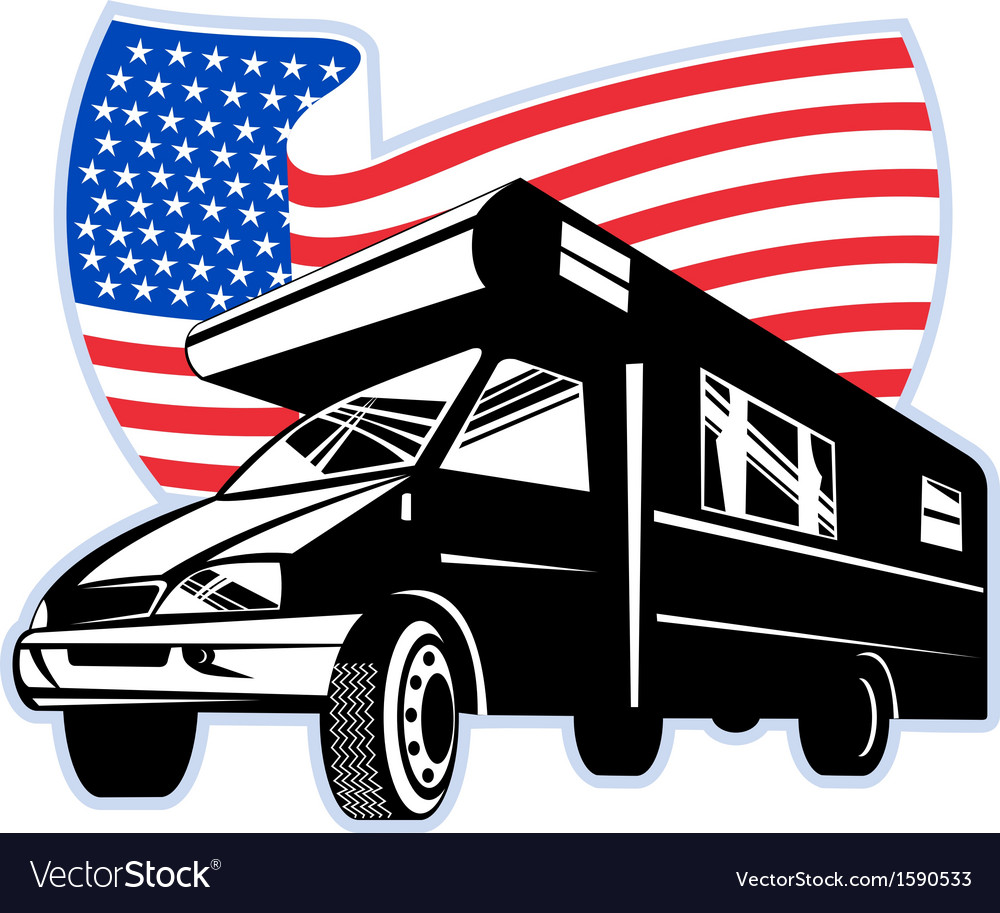 Camper van with american flag stars and stripes vector | Price: 1 Credit (USD $1)