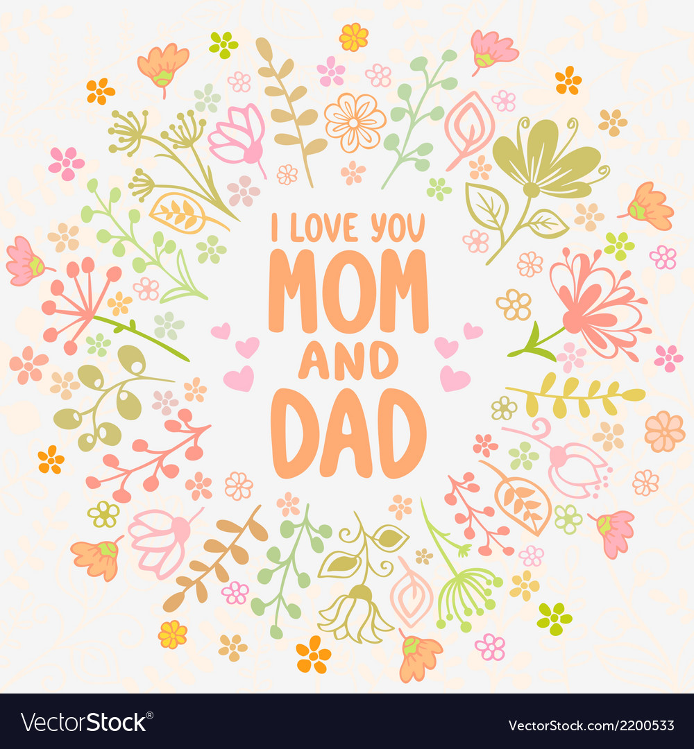 Card mom and dad vector | Price: 1 Credit (USD $1)