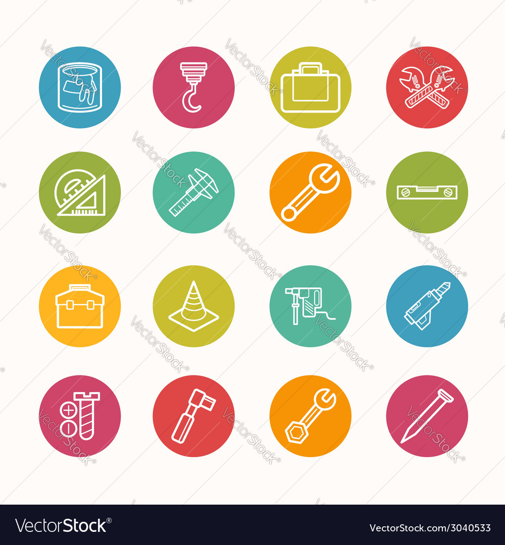 Construction icons set circle series - eps10 vector | Price: 1 Credit (USD $1)