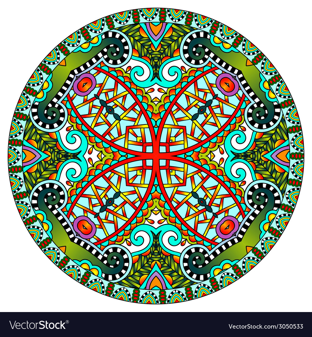 Decorative design of circle dish template round vector | Price: 1 Credit (USD $1)