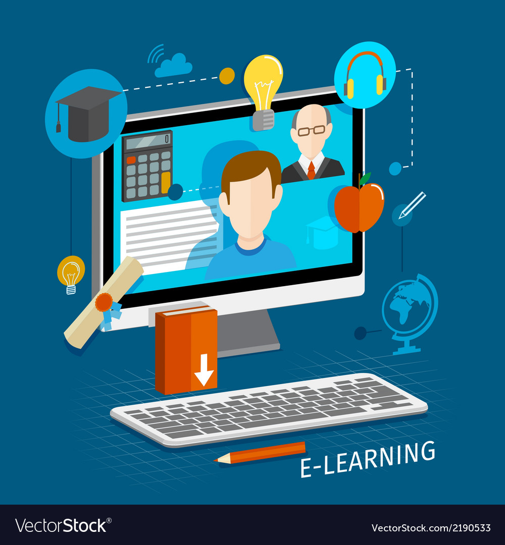 E-learning flat poster vector | Price: 3 Credit (USD $3)