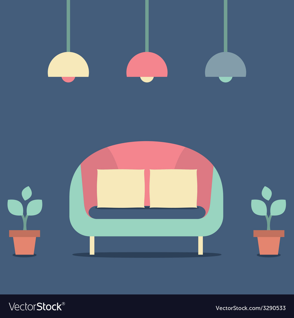 Flat design interior vintage sofa vector | Price: 1 Credit (USD $1)