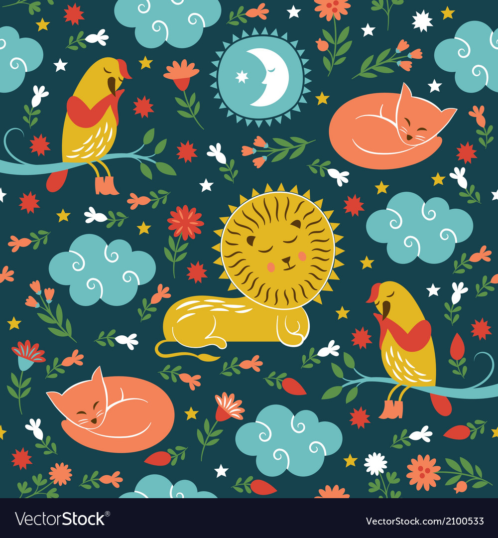 Lullaby pattern cute animals vector | Price: 1 Credit (USD $1)