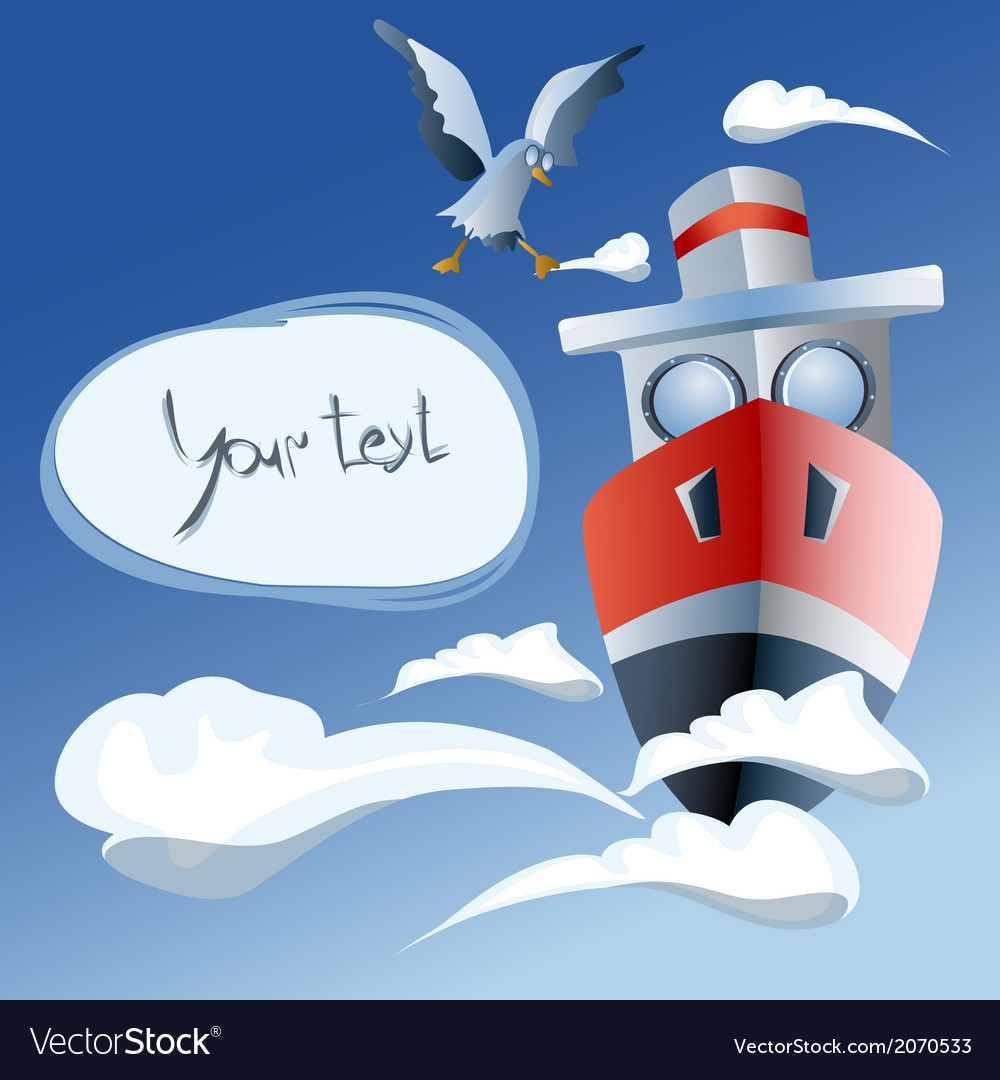 Red ship in the air frame clouds seagull vector | Price: 1 Credit (USD $1)