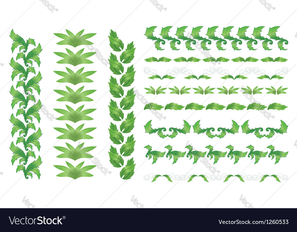 Set of green floral borders vector | Price: 1 Credit (USD $1)