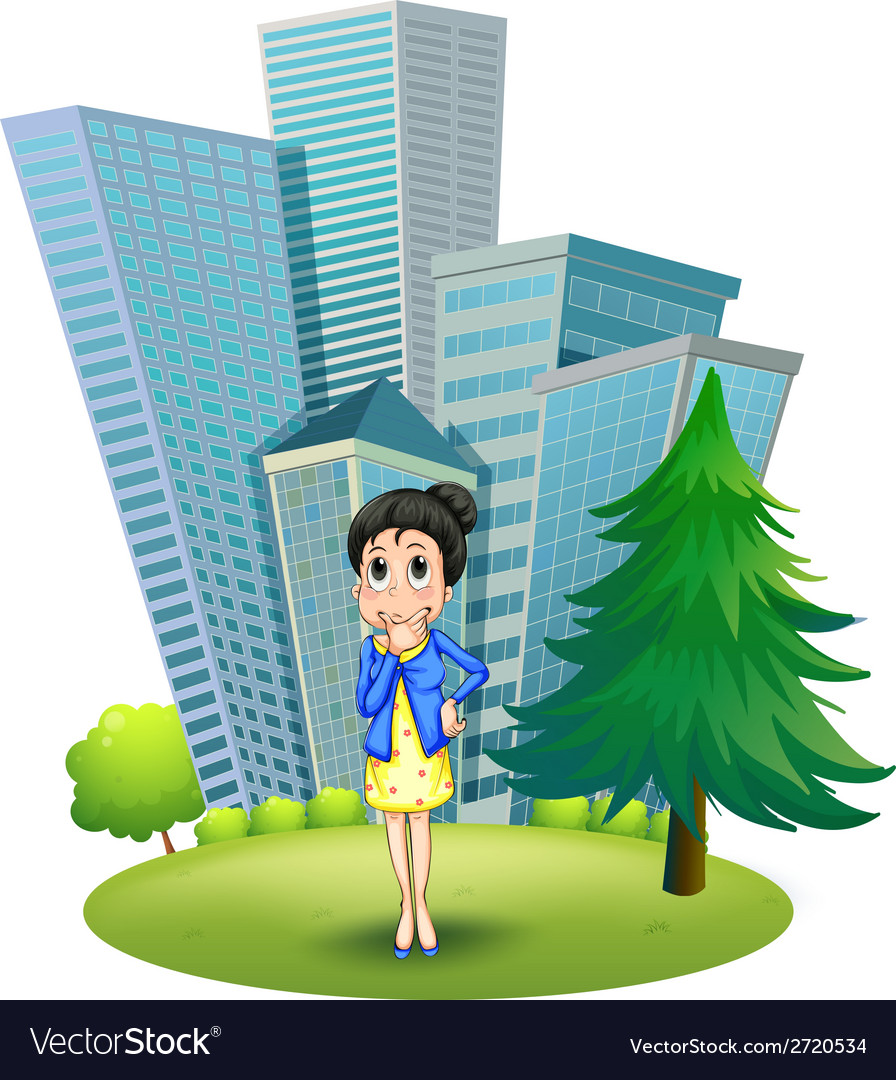 A woman in front of the building vector | Price: 1 Credit (USD $1)