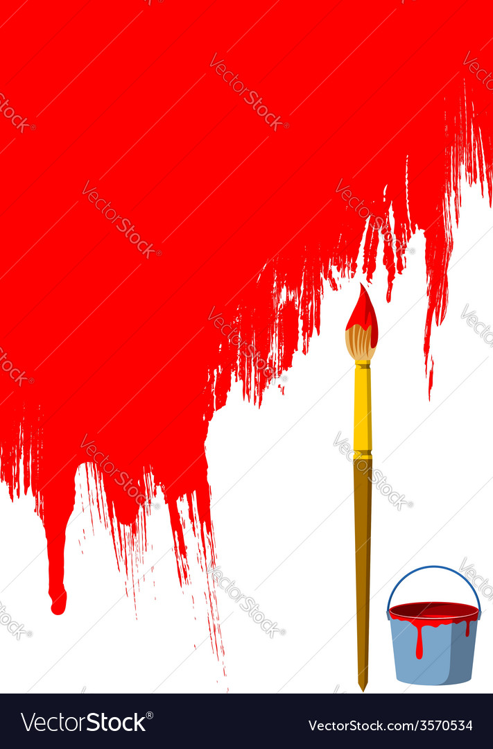 Brush bucket and painted wall vector | Price: 1 Credit (USD $1)
