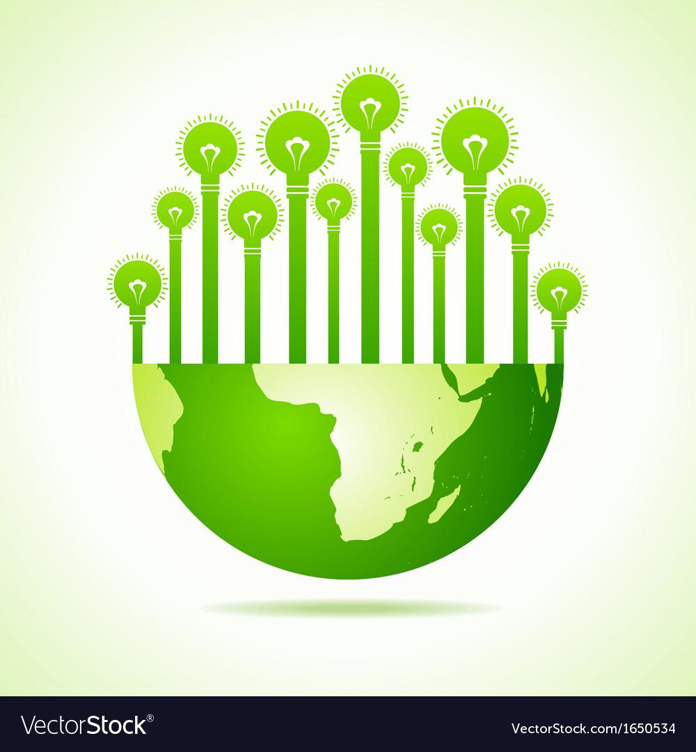 Bulbs on half earth vector | Price: 1 Credit (USD $1)