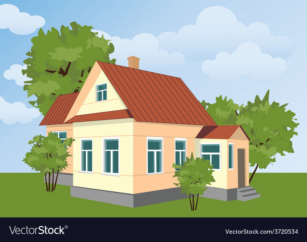 Country house vector | Price: 1 Credit (USD $1)