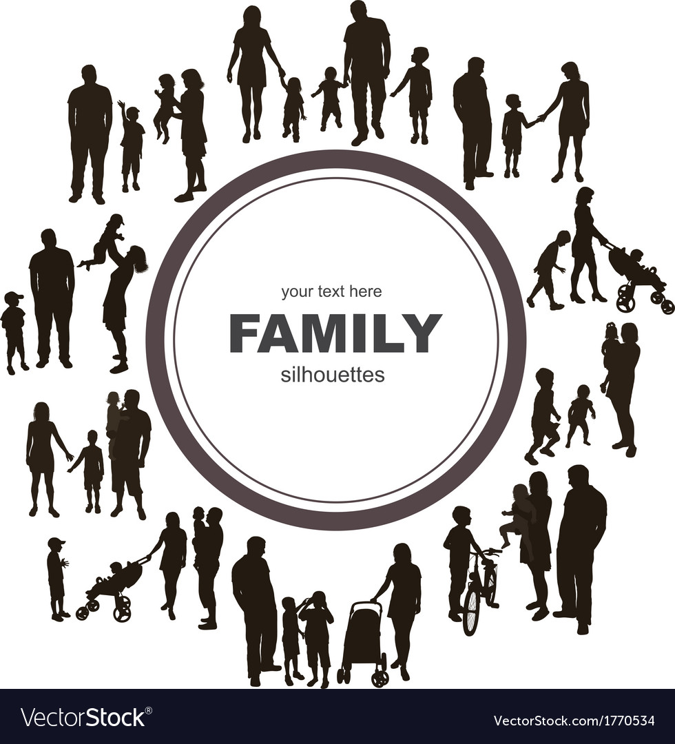 Frame with family silhouettes vector | Price: 1 Credit (USD $1)