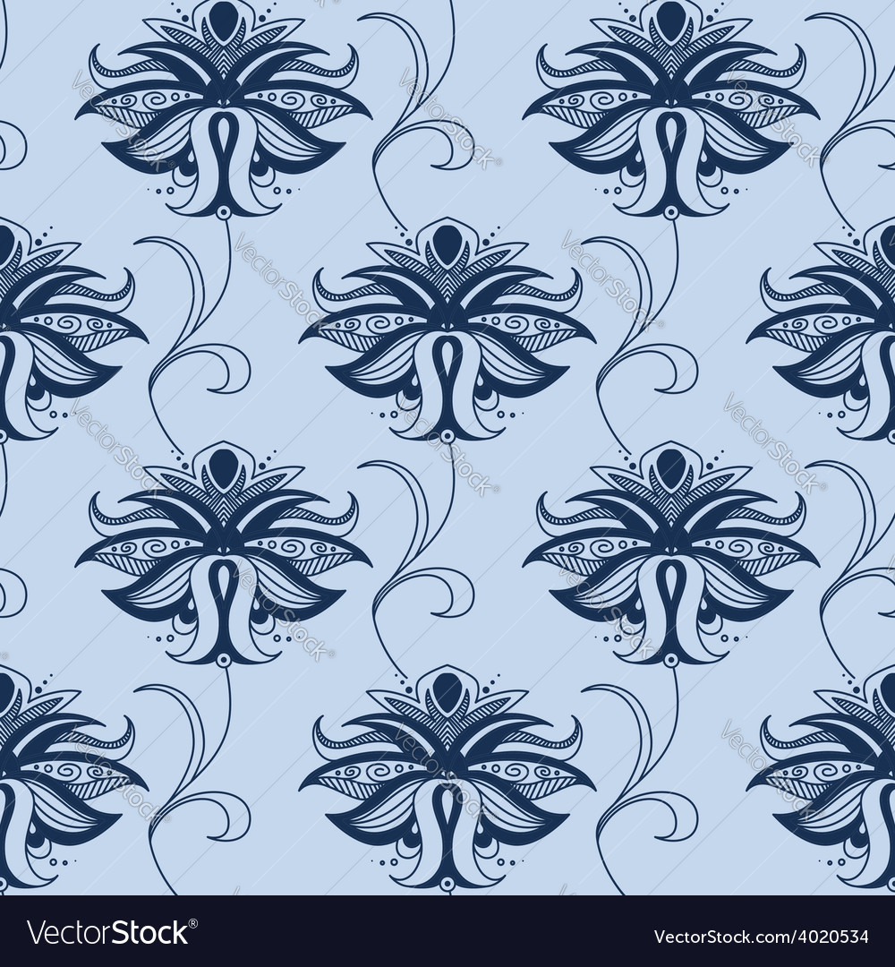 Indian blue lace flowers seamless pattern vector | Price: 1 Credit (USD $1)