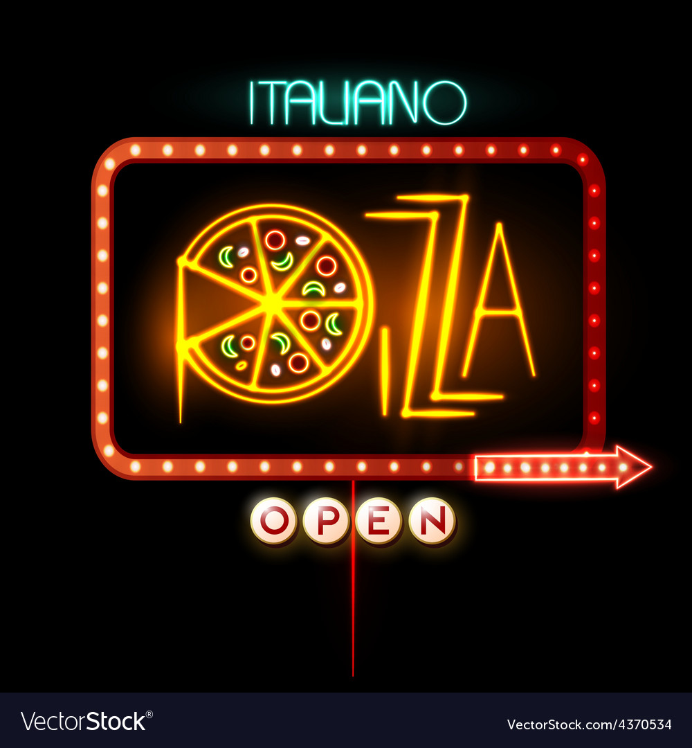Neon sign pizza vector | Price: 3 Credit (USD $3)