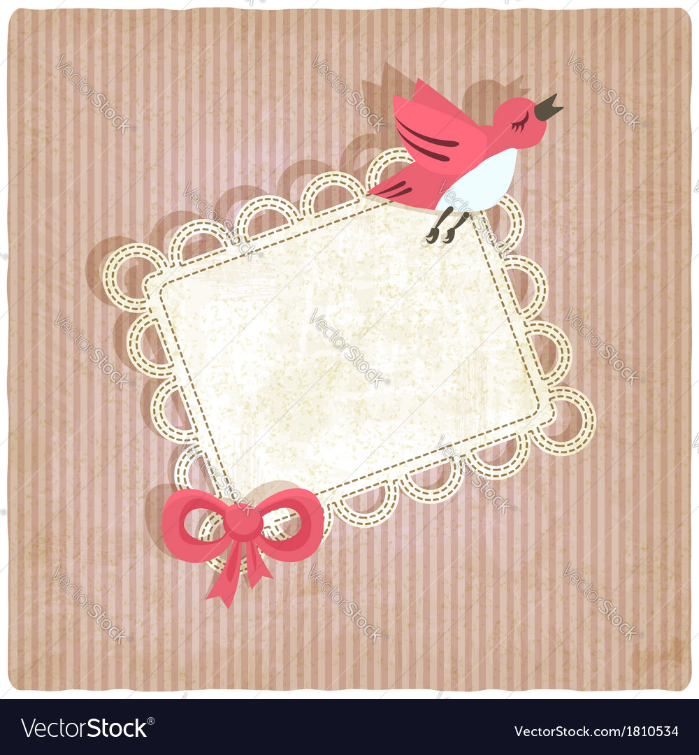 Pink retro background with bird vector | Price: 1 Credit (USD $1)