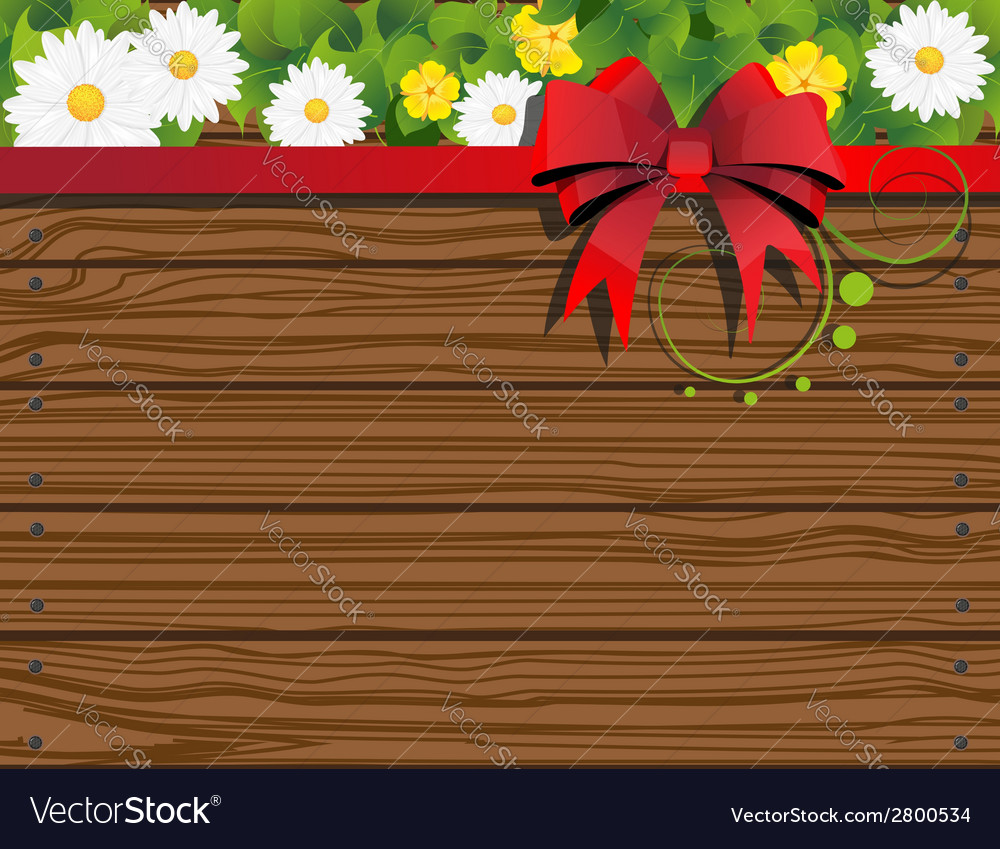 Rural background with fence and flowers vector | Price: 1 Credit (USD $1)