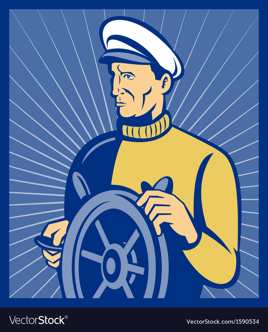 Sea ship captain at the helm steering wheel vector | Price: 1 Credit (USD $1)