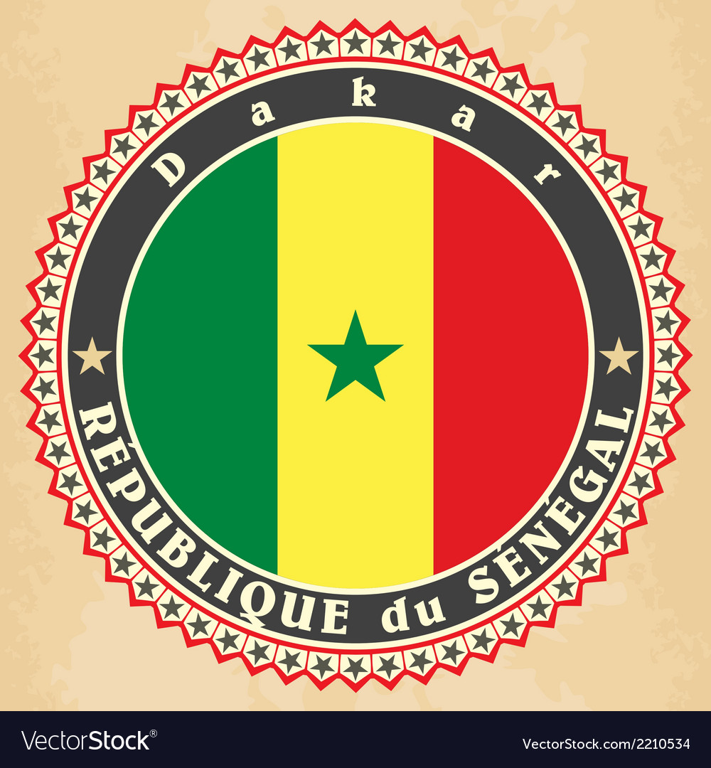 Vintage label cards of senegal flag vector | Price: 1 Credit (USD $1)