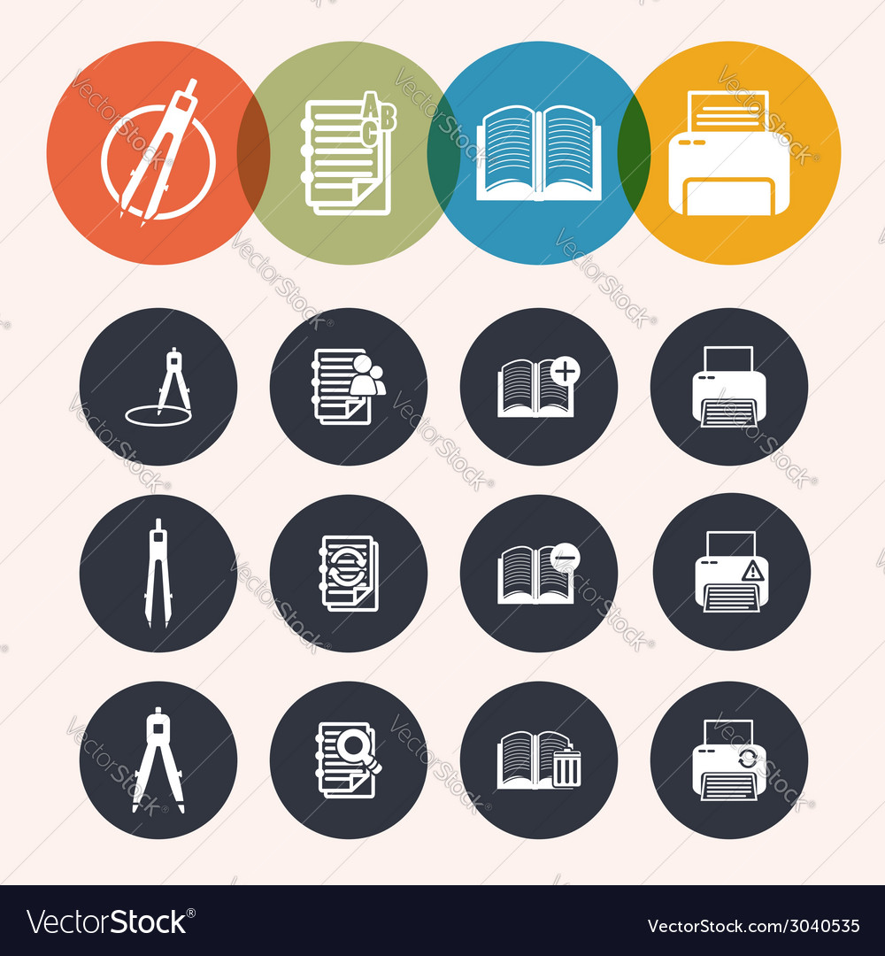 Collection circle series icons measurement instrum vector | Price: 1 Credit (USD $1)