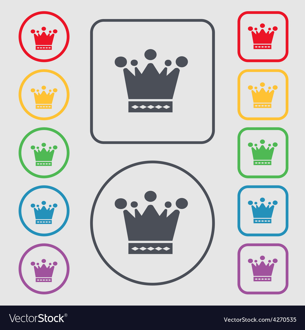 Crown icon sign symbol on the round and square vector | Price: 1 Credit (USD $1)