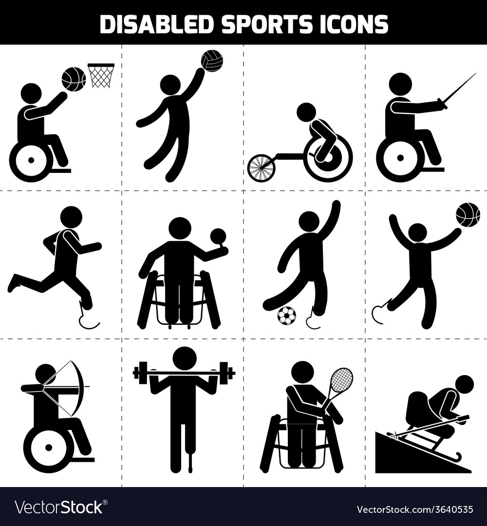 Disabled sports icons vector | Price: 1 Credit (USD $1)