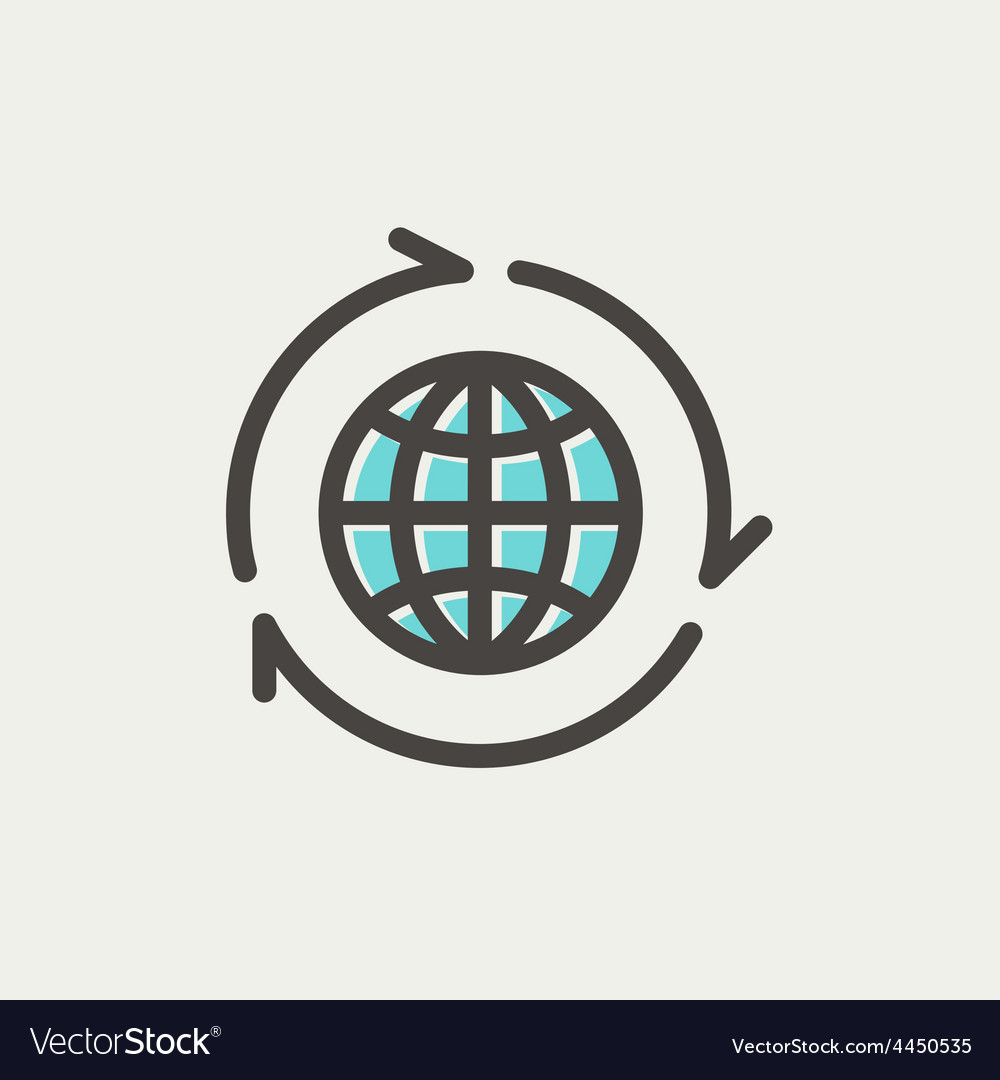 Globe with arrow around thin line icon vector | Price: 1 Credit (USD $1)