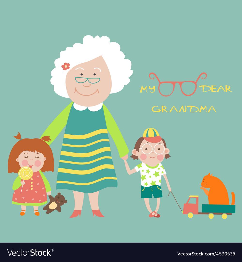Grandmother with grandchildren vector | Price: 1 Credit (USD $1)