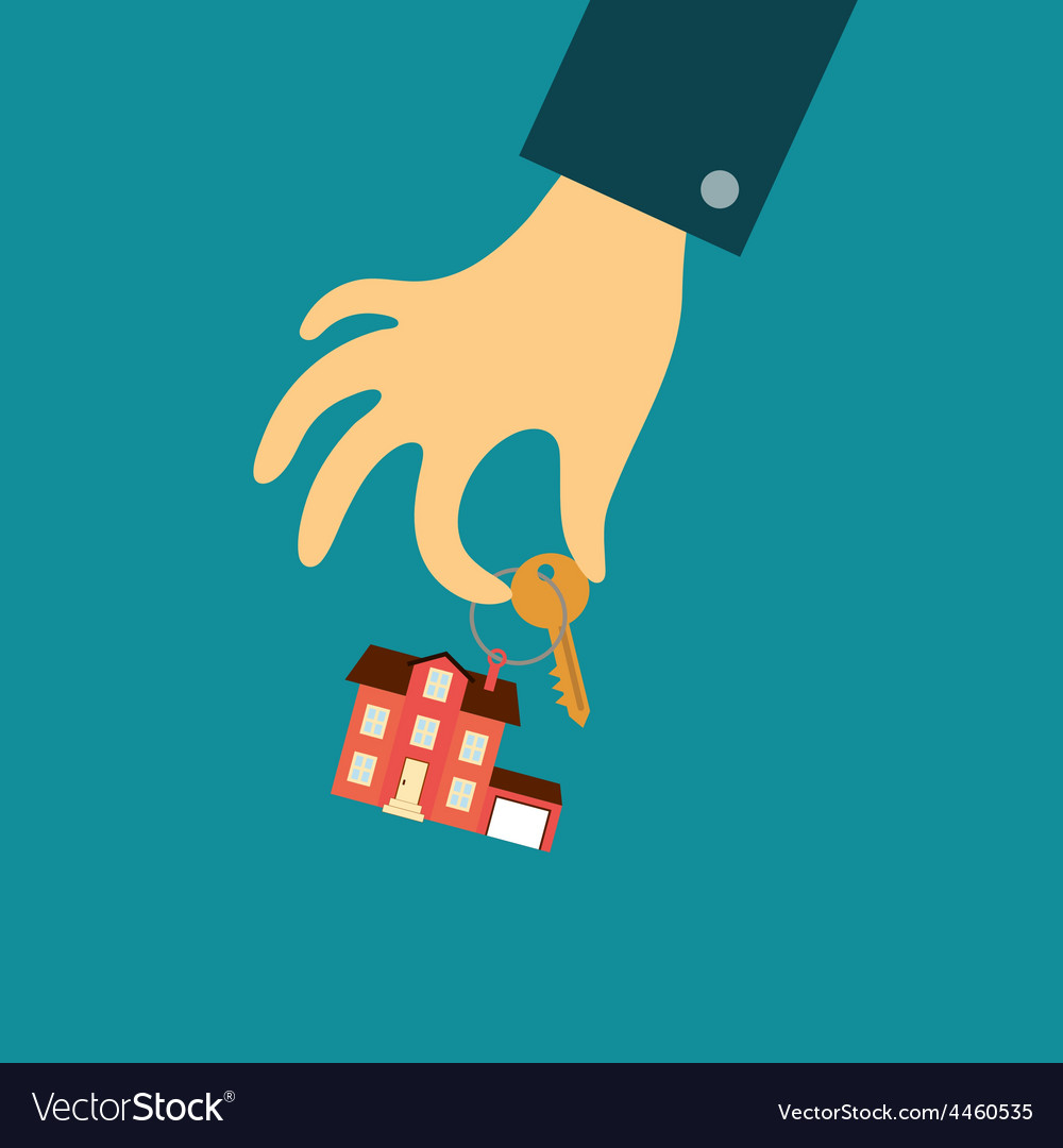 Hand of a real estate agent holding a key with a vector | Price: 1 Credit (USD $1)