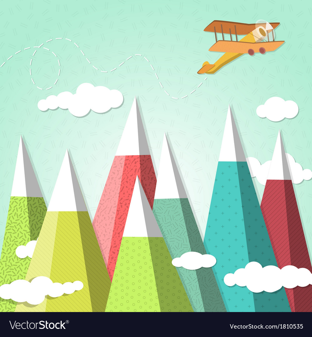 Mountain background with a biplane vector | Price: 1 Credit (USD $1)
