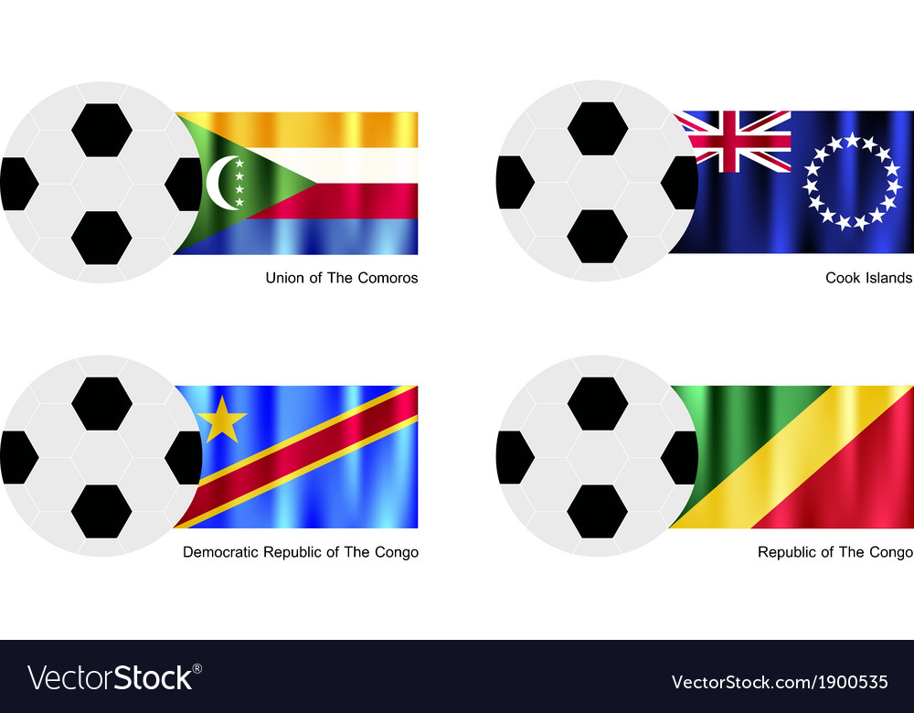 Soccer ball of comoros cook islands and congo vector | Price: 1 Credit (USD $1)