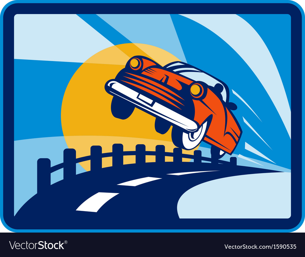 Vintage convertible car flying off the road vector | Price: 1 Credit (USD $1)