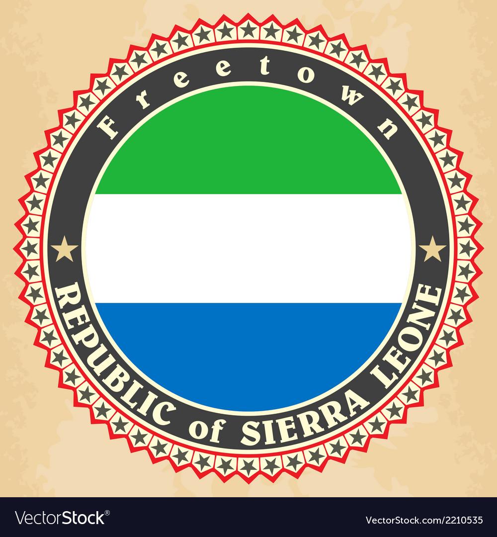 Vintage label cards of sierra leone flag vector | Price: 1 Credit (USD $1)