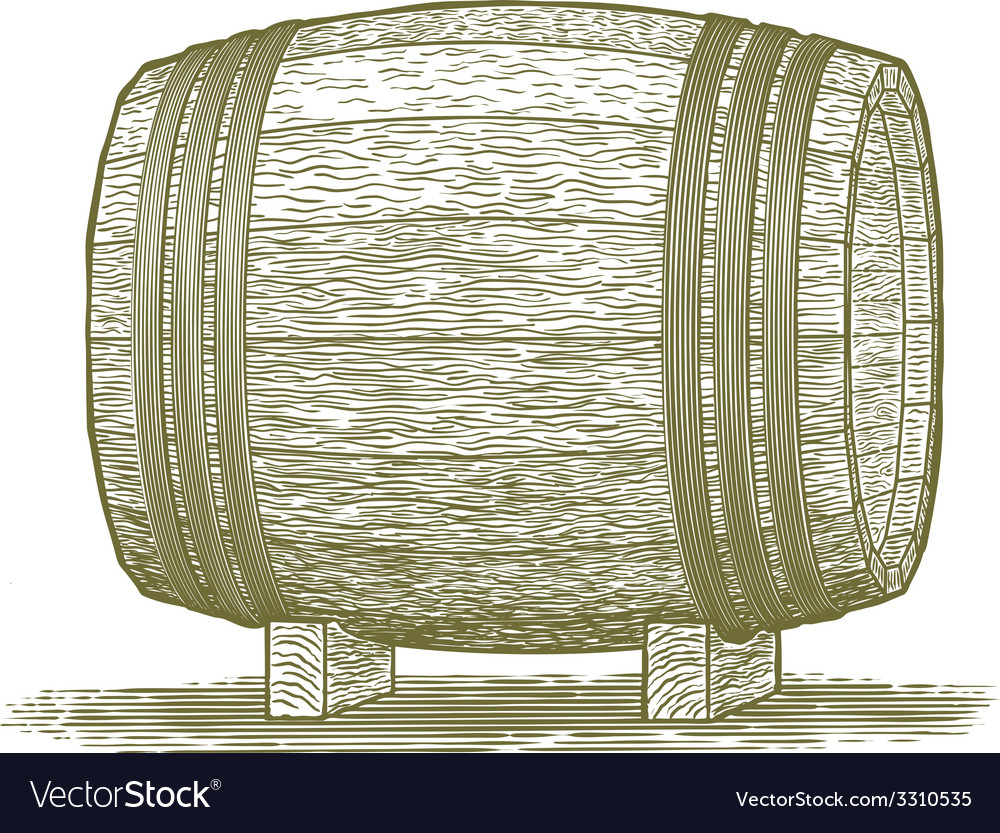Woodcut whiskey barrel vector | Price: 1 Credit (USD $1)
