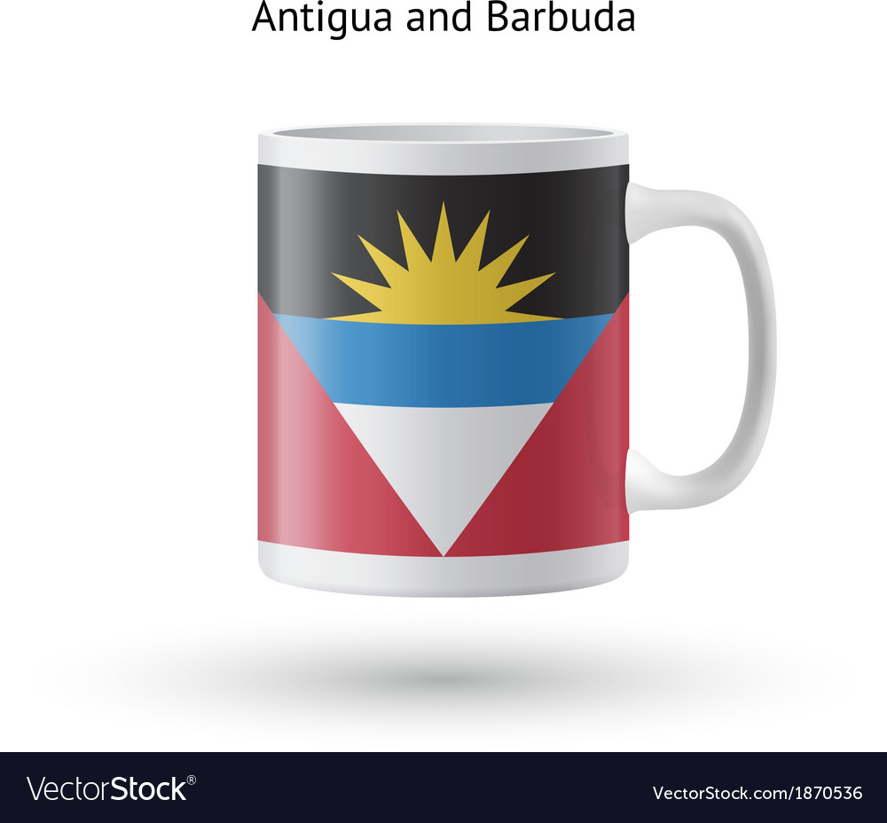 Antigua and barbuda flag souvenir mug on white vector | Price: 1 Credit (USD $1)