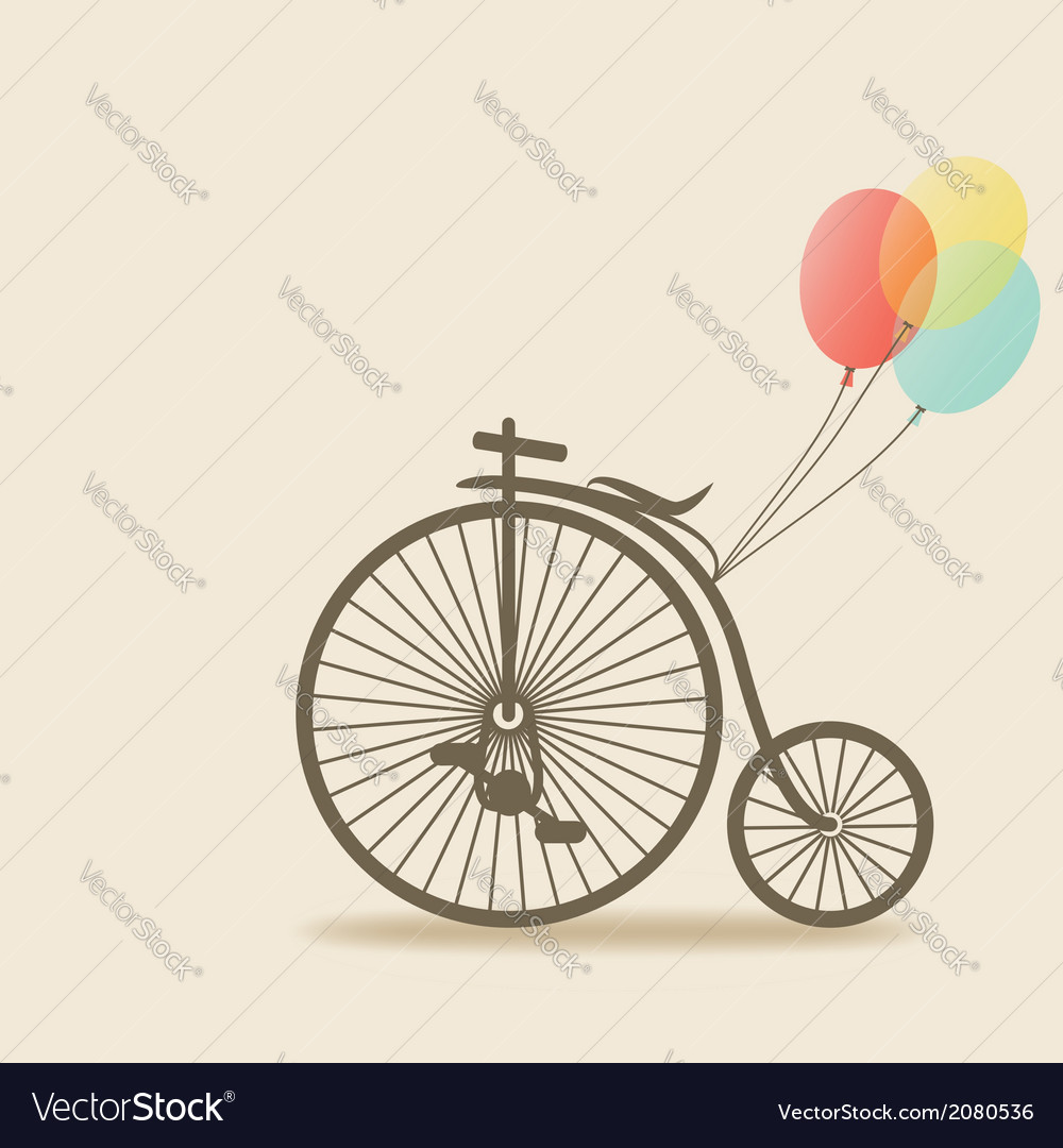 Bike with balloons vector | Price: 1 Credit (USD $1)