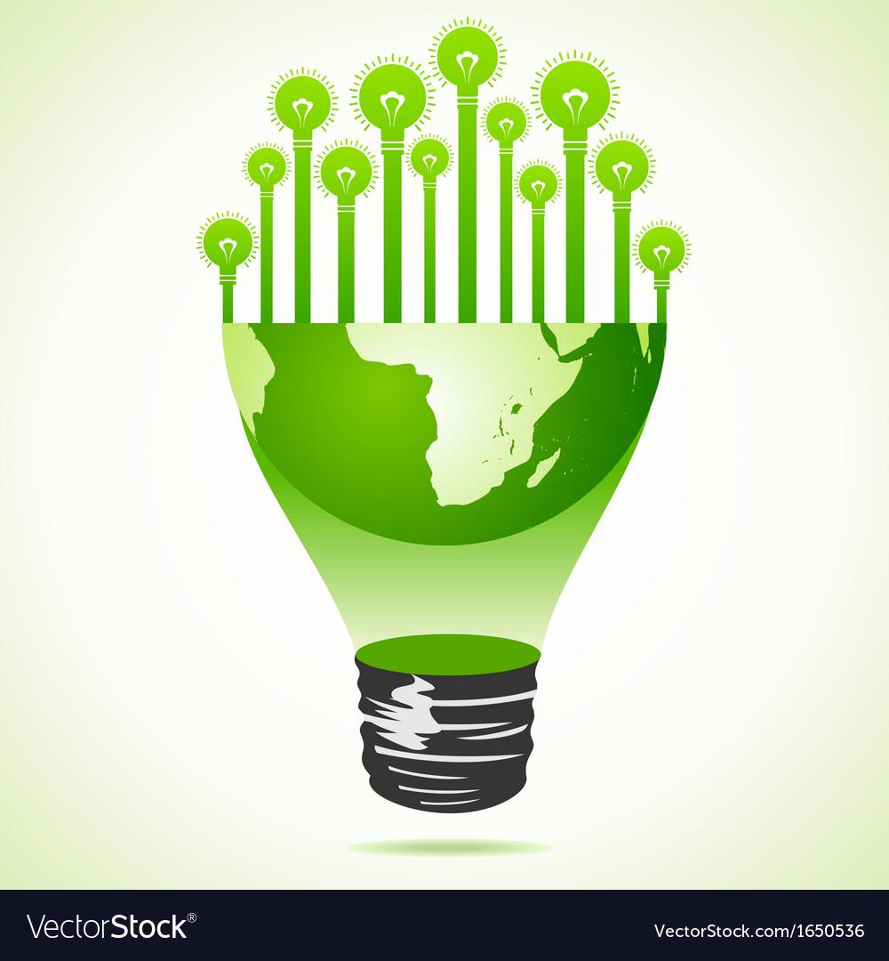 Bulbs on half earth bulb vector | Price: 1 Credit (USD $1)