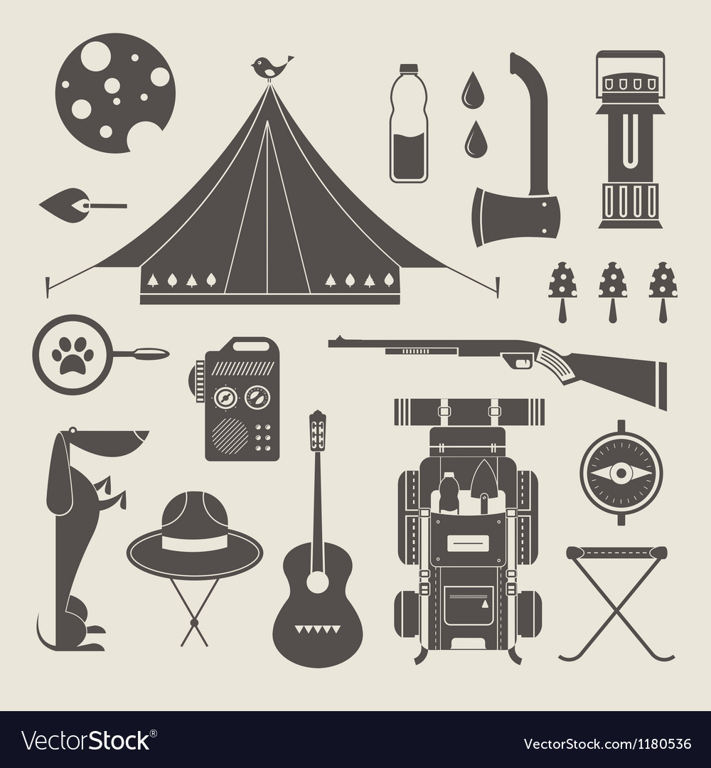 Camping icons vector | Price: 1 Credit (USD $1)