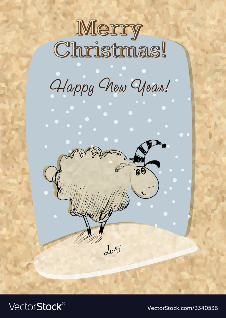 Cardboard christmas card with sheep vector | Price: 1 Credit (USD $1)