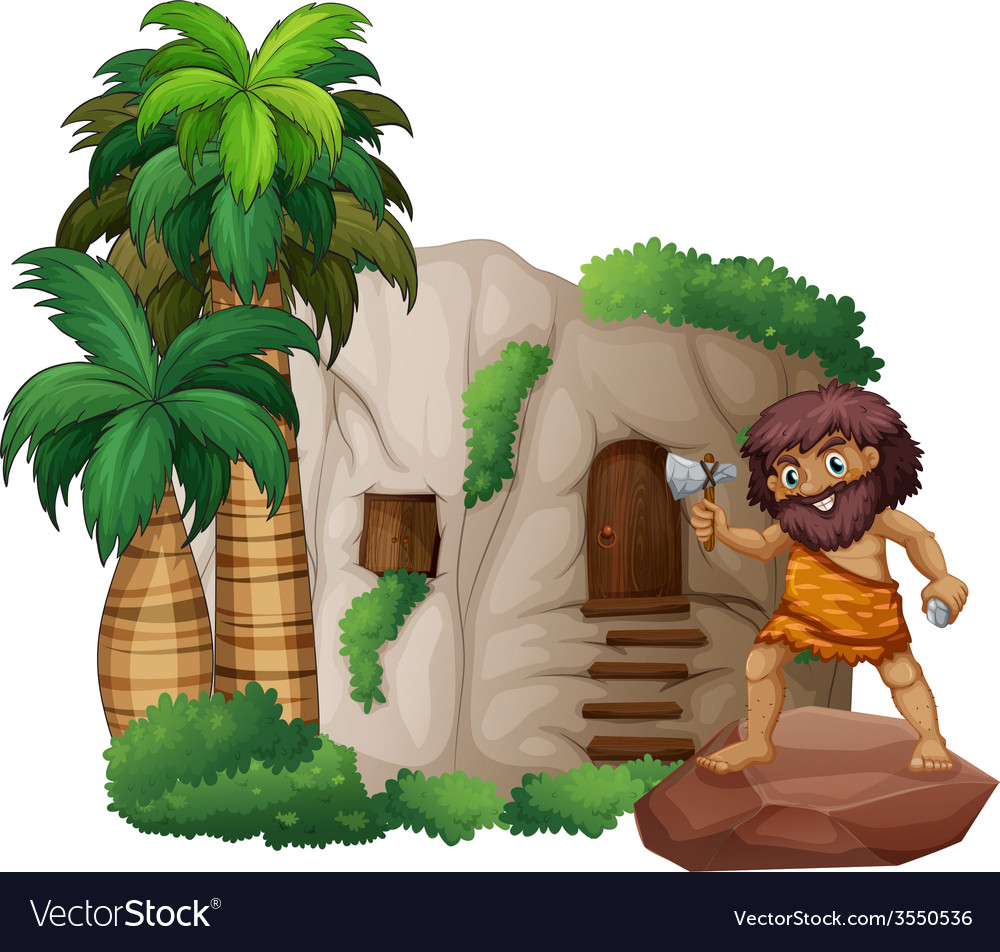 Caveman and house vector | Price: 3 Credit (USD $3)