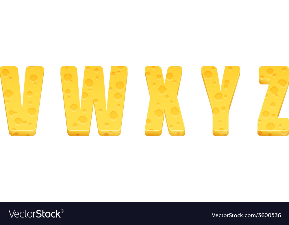 Cheese alphabet set letters v-z vector | Price: 1 Credit (USD $1)