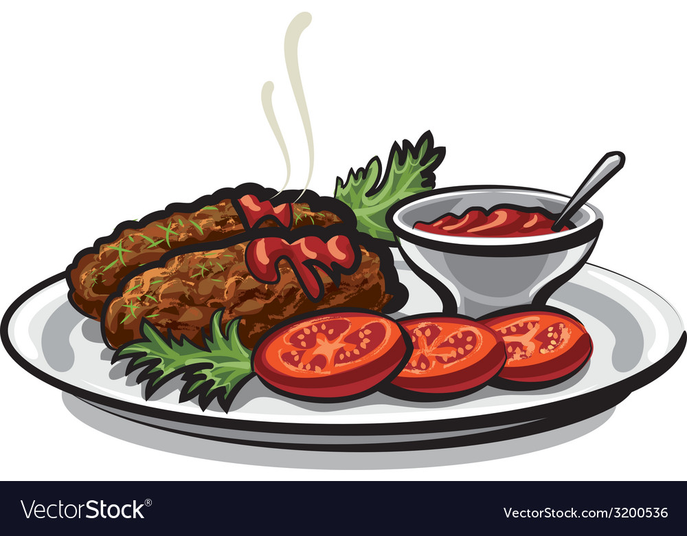 Cutlets with sauce vector | Price: 3 Credit (USD $3)