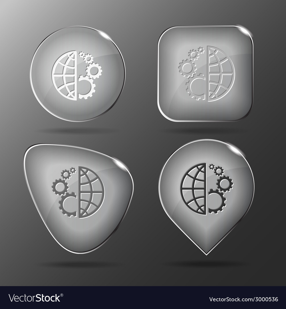 Globe and gear glass buttons vector | Price: 1 Credit (USD $1)