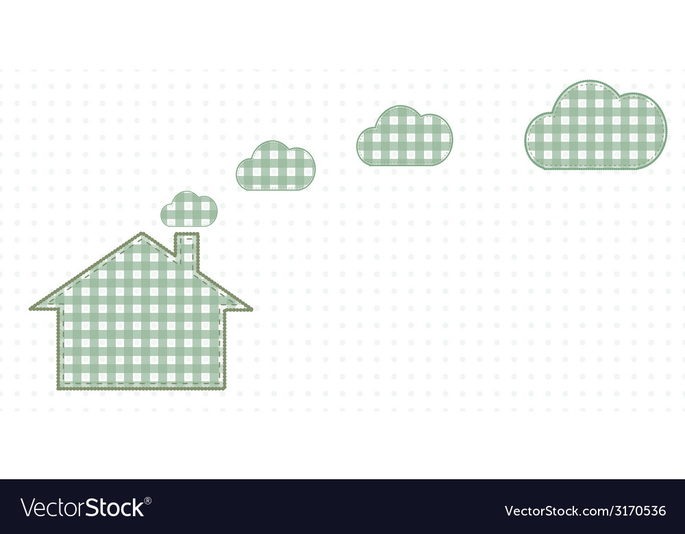 House and clouds from the chimney cute baby style vector | Price: 1 Credit (USD $1)