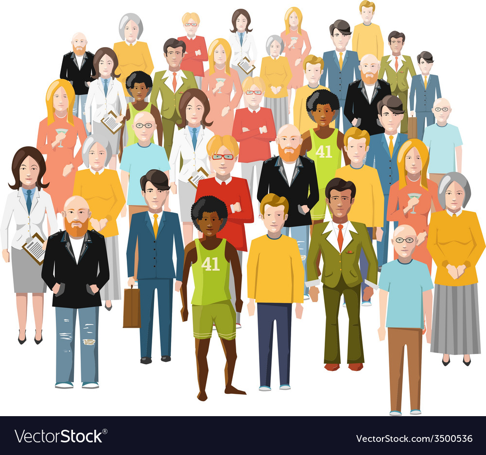 International group of people old and young from vector | Price: 1 Credit (USD $1)