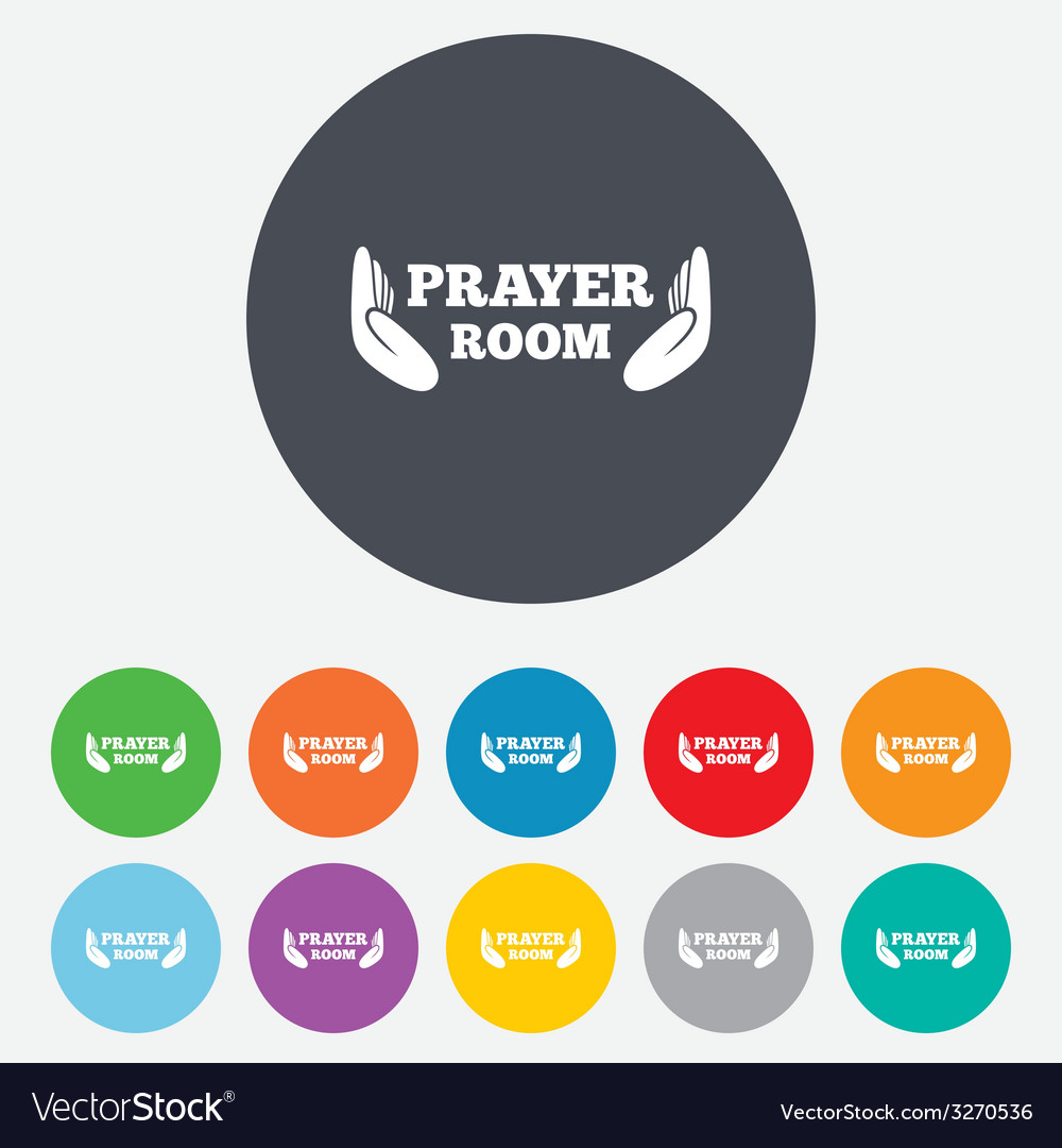 Prayer room sign icon religion priest symbol vector | Price: 1 Credit (USD $1)