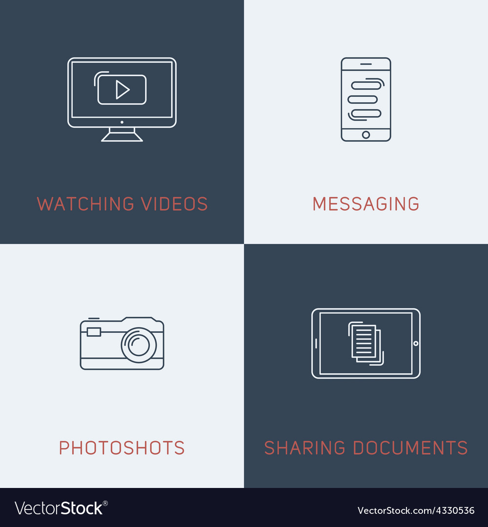 Set of modern thin line icons watching videos vector | Price: 1 Credit (USD $1)