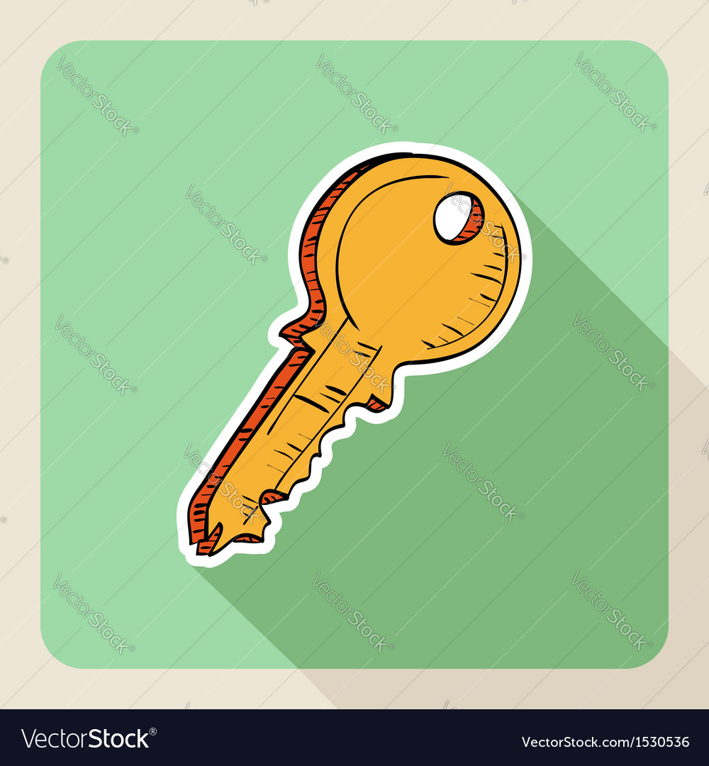 Sketch style real estate door key vector | Price: 1 Credit (USD $1)