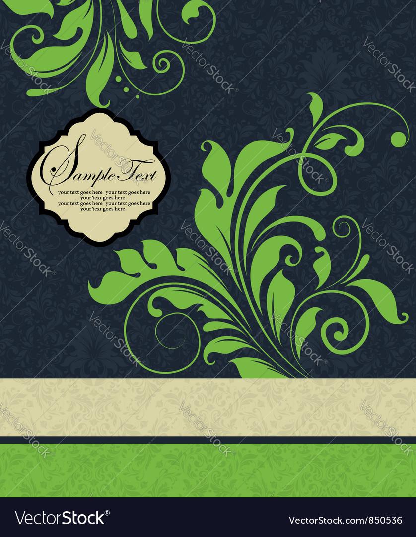 Vintage green floral wedding invitation card vector | Price: 1 Credit (USD $1)
