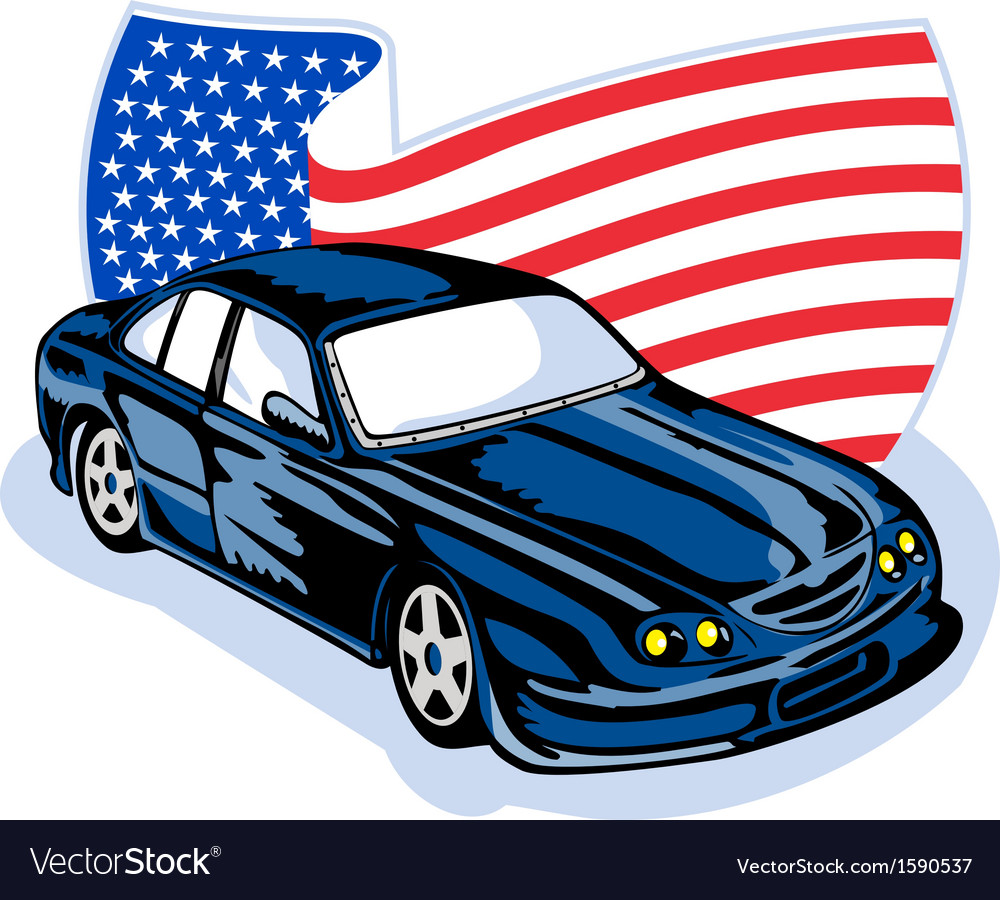 American ford gt muscle car with flag vector | Price: 1 Credit (USD $1)